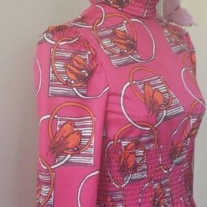 Host Pick- 1970' s vintage pink bird maxi dress